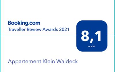 Booking.com Traveller Award 2021 voor Appartement Klein Waldeck!